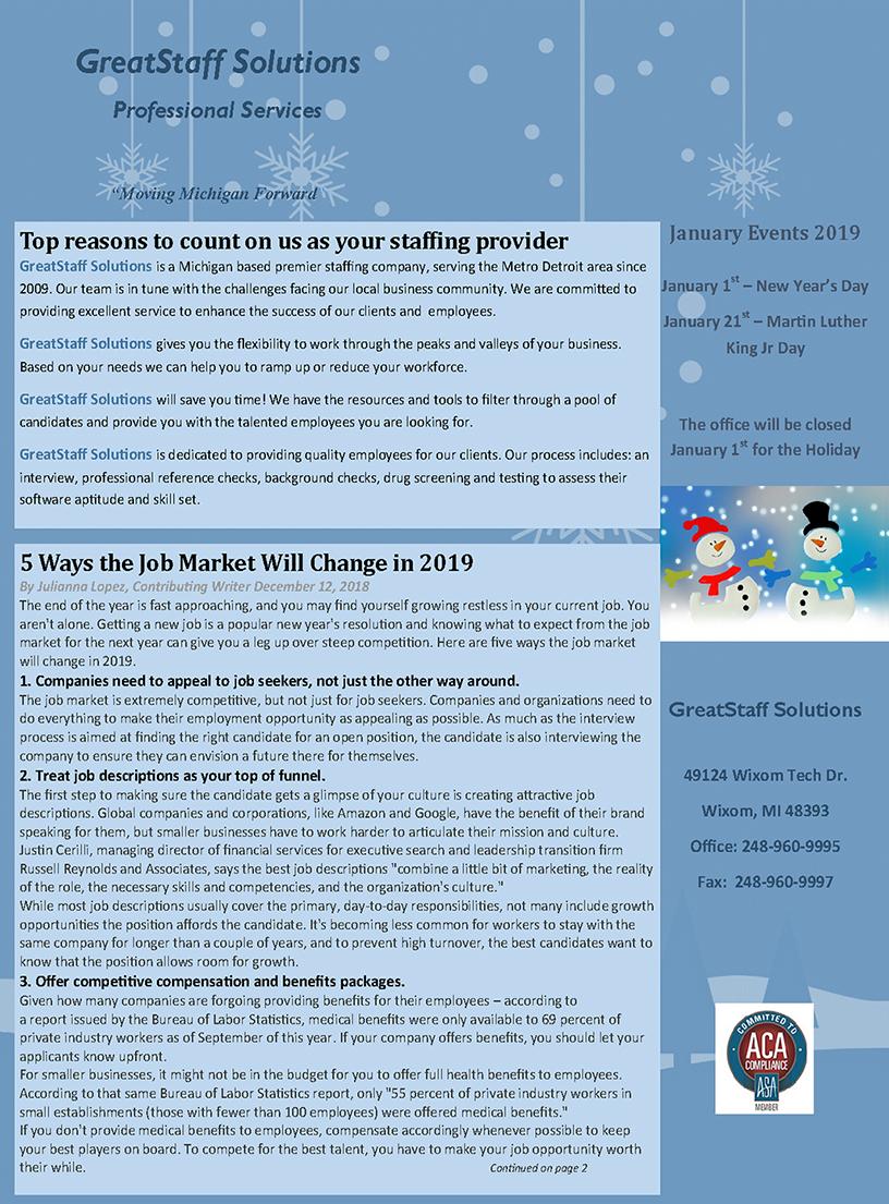 GreatStaff Newsletter Jan 2019 page 1