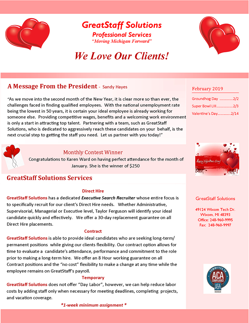 GreatStaff Newsletter Feb 2019 page 1