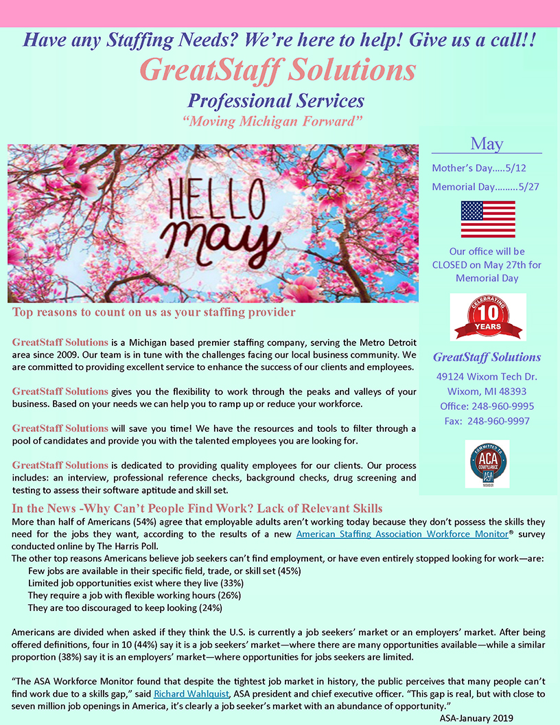 May 2019 GreatStaff Newsletter, Page 1