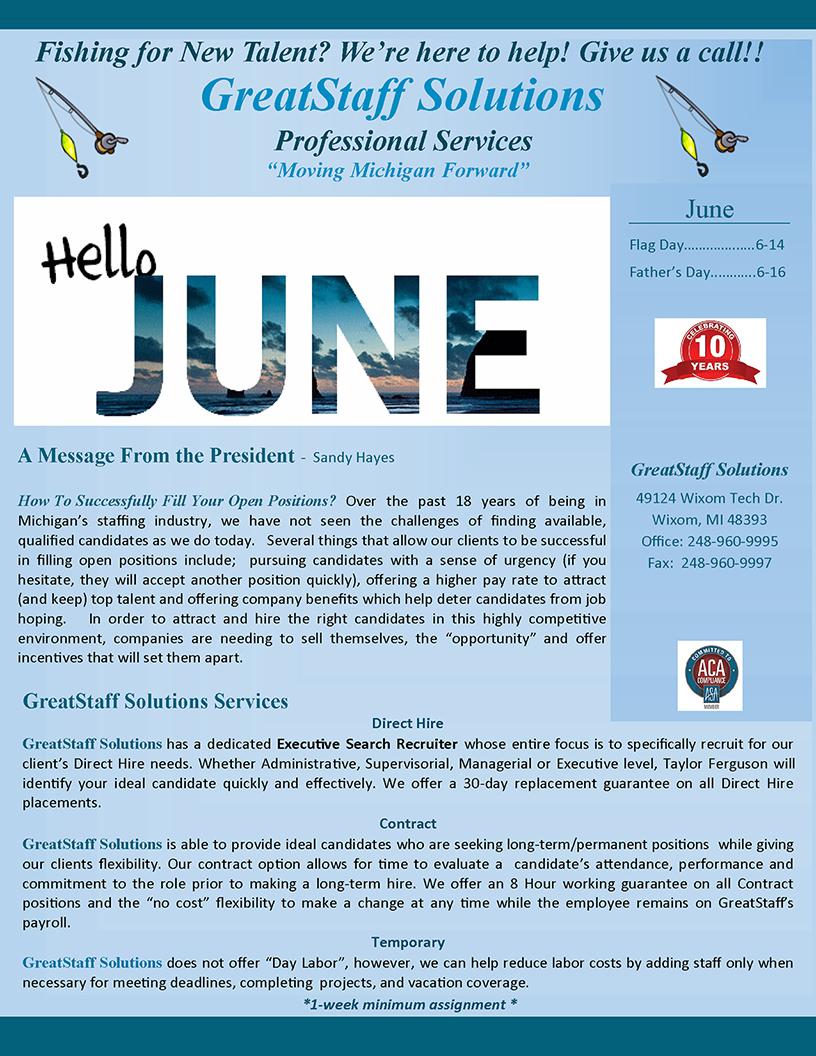 June 2019 GreatStaff Newsletter, Page 1