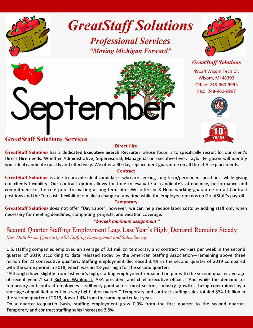 September 2019 GreatStaff Newsletter, Page 1