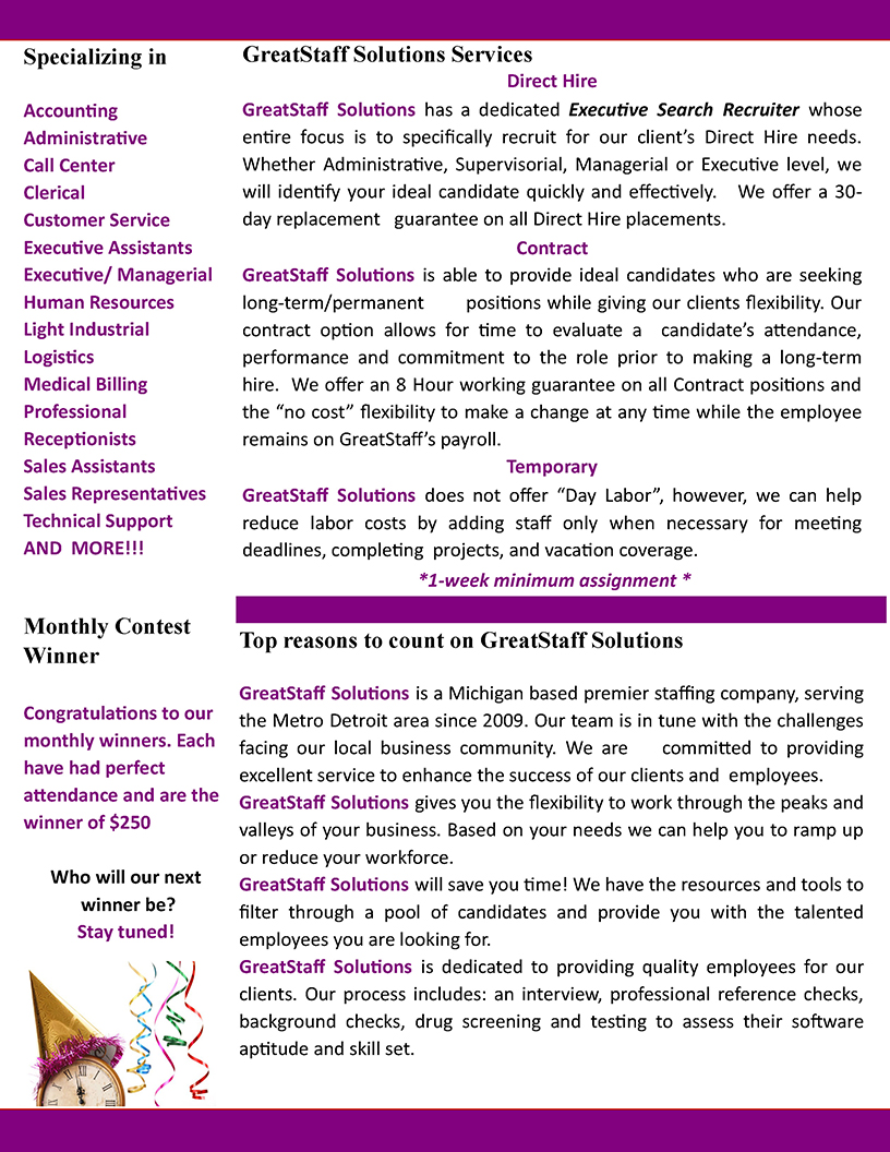 January 2020 GreatStaff Newsletter, Page 1