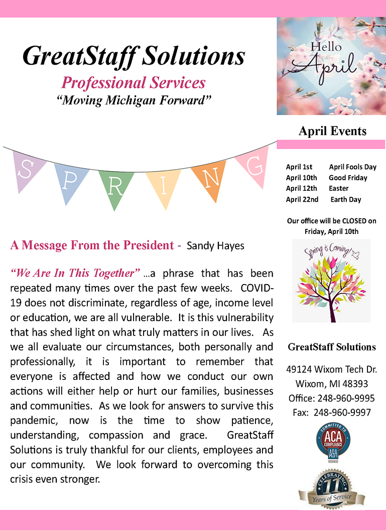 April 2020 GreatStaff Newsletter, Page 1