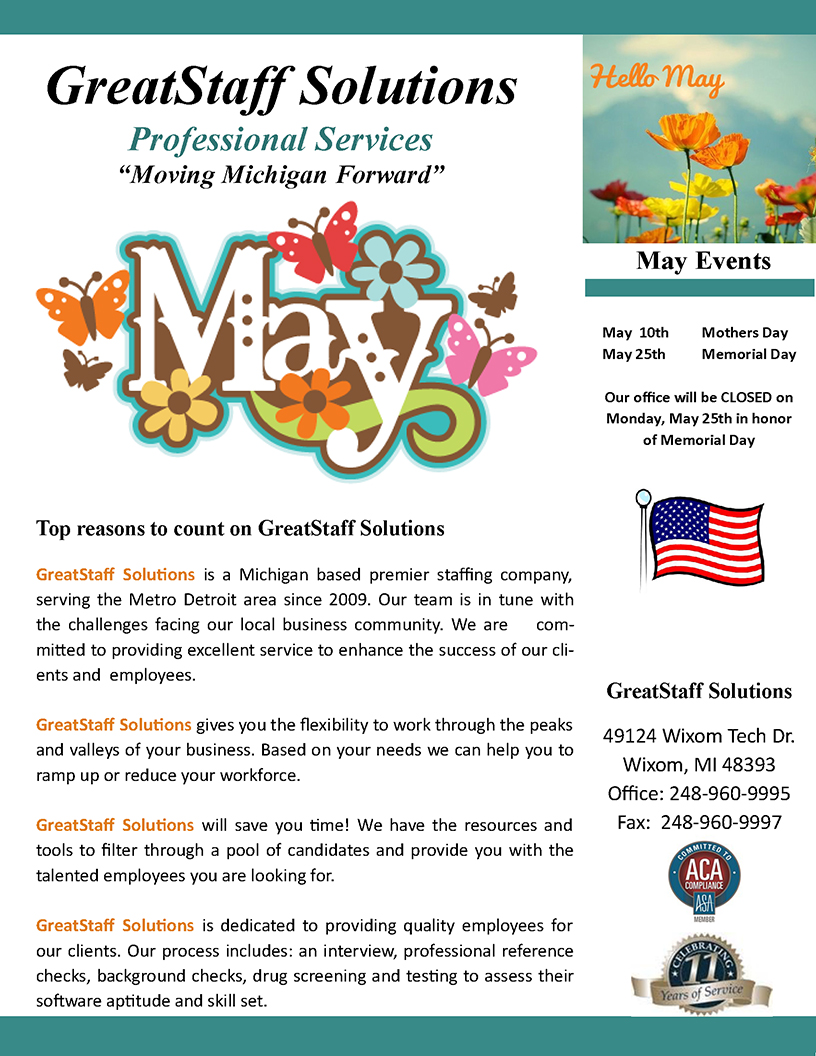 May 2020 GreatStaff Newsletter, Page 1