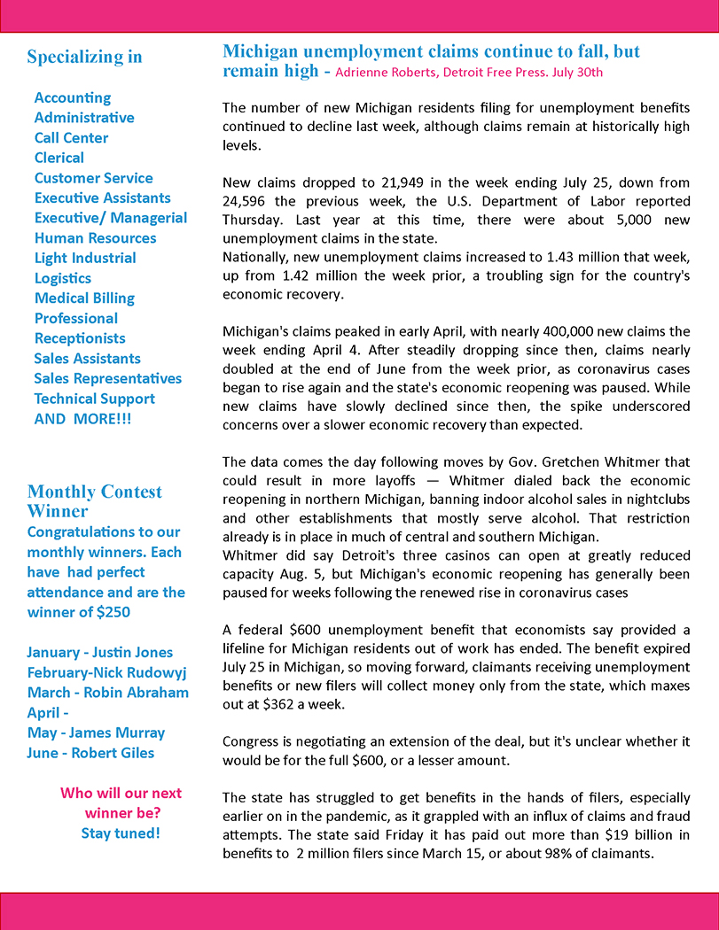 August 2020 GreatStaff Newsletter, Page 2