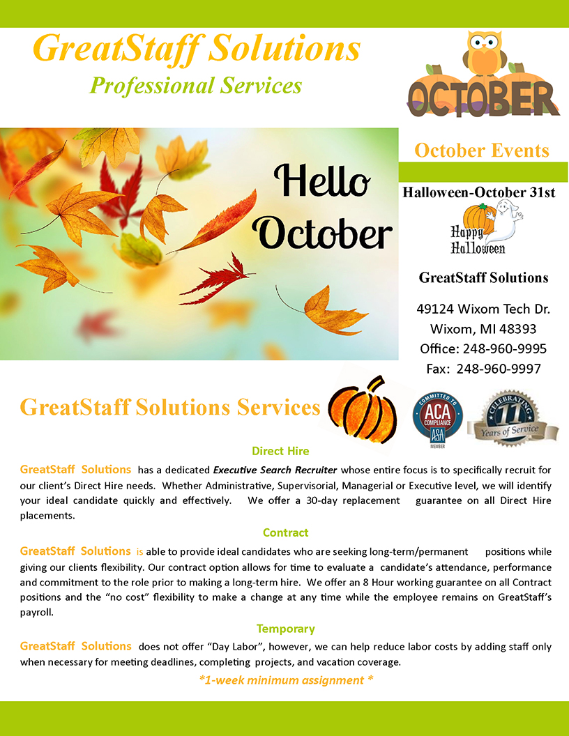 October 2020 GreatStaff Newsletter, Page 1