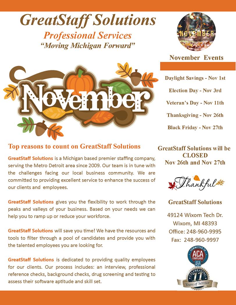 November 2020 Newsletter, Page 1