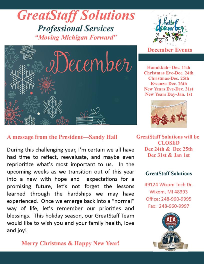 December Newsletter, Page 1
