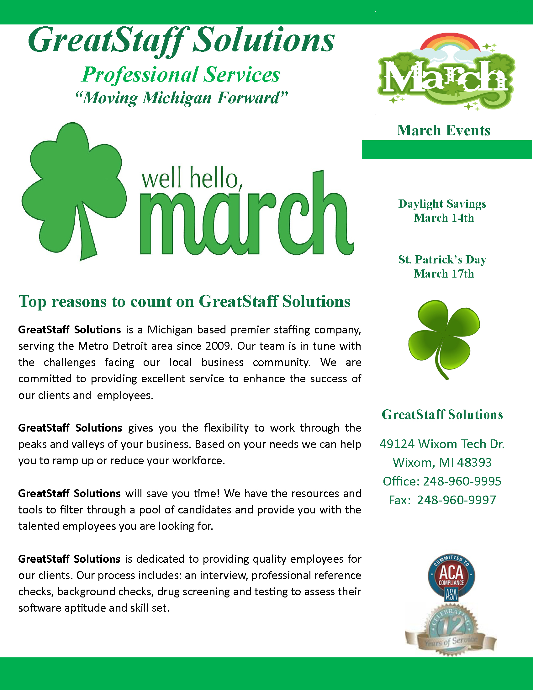 March 2020 Newsletter, Page 1