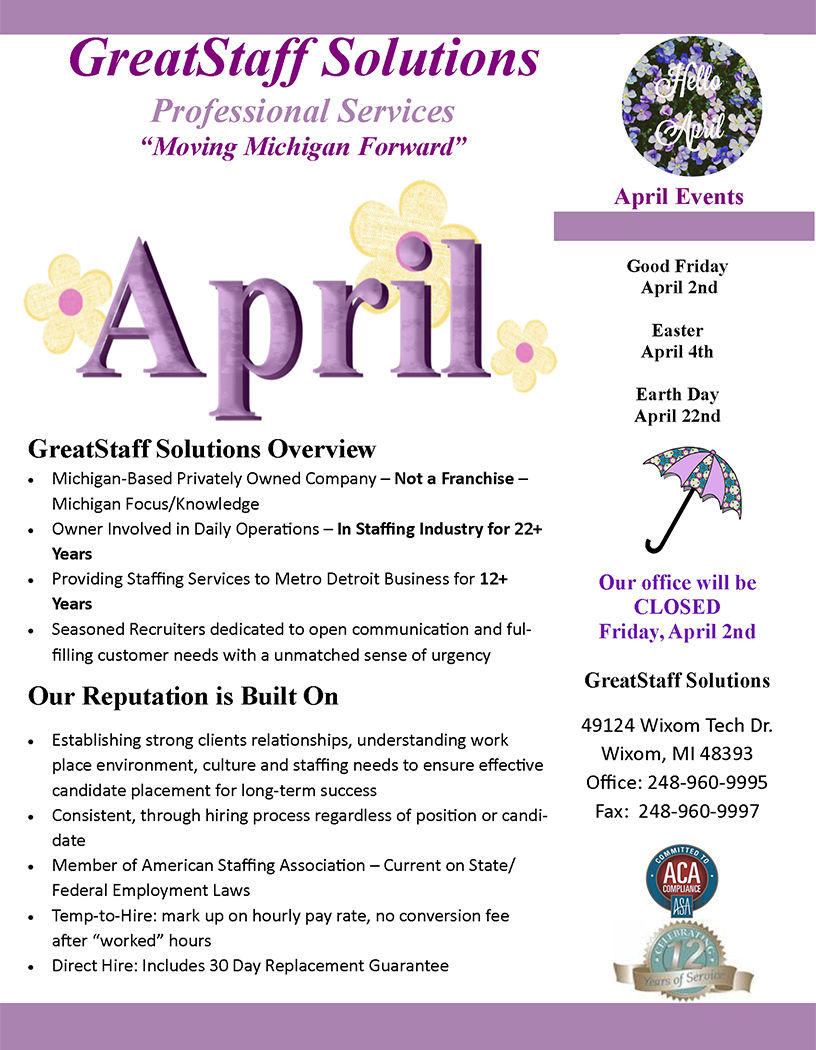 April 2021 GreatStaff Newsletter, Page 1