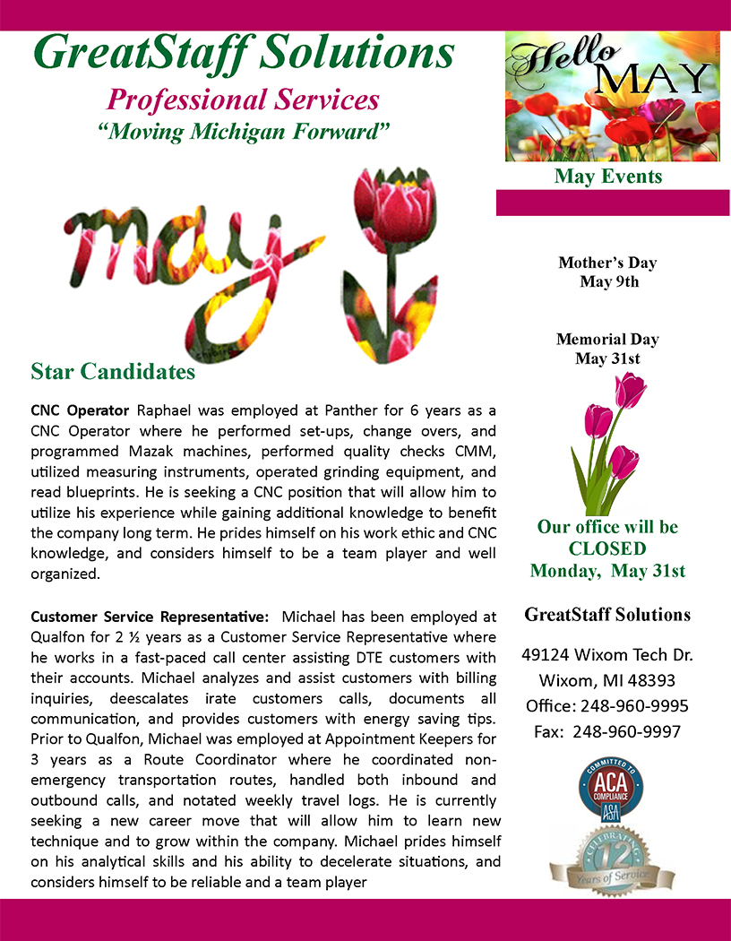 May 2021 GreatStaff Newsletter, Page 1
